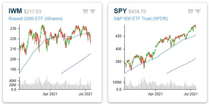 small vs large cap divergence 2021
